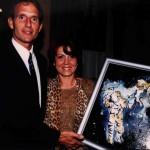 """Raffaella Losapio con Jerry Linenger in occasione delle conferenze """"Space Explorers"""" (Milano 23-24/11/2000) presso l' Università degli Studi e la Fiera di Milano"""