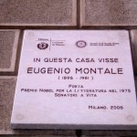 targa casa Montale in via Biglì a Milano