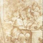 S. Paolo appare a S. Agostino, Bartolomeo Letterini, Ink and Watercolor, Size: 9.2 x 6.3 in. / 23.4 x 15.9 cm, Sale Of: Franco Semenzato Venice: Sunday, February 6, 1994 [Lot 3]