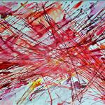 Traiettorie di particellein rosso, Raffaella Losapio, 2017 cm 70x100